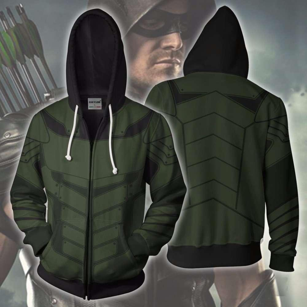 2019 Arrow Green Cosplay Disfraz Impreso 3D Sudadera con capucha Hombres Moda Chaqueta con capucha Spring Abrigo de otoño Tops
