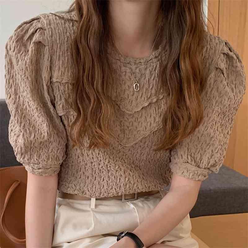 Damen Stricks T-Shirts Plissee Dame Süße Hohe Qualität Kurze Stilvolle Femme Kurzarm Sommer Mädchen Alle Spiel Prom Hirts Tops DS0