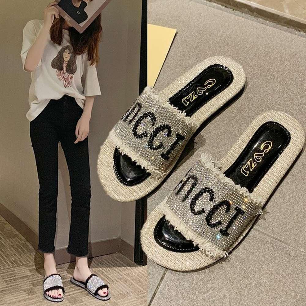 2020 yeni yaz terlik giymek kadın düz dipli flip flop moda çok yönlü elmas plaj ayakkabı