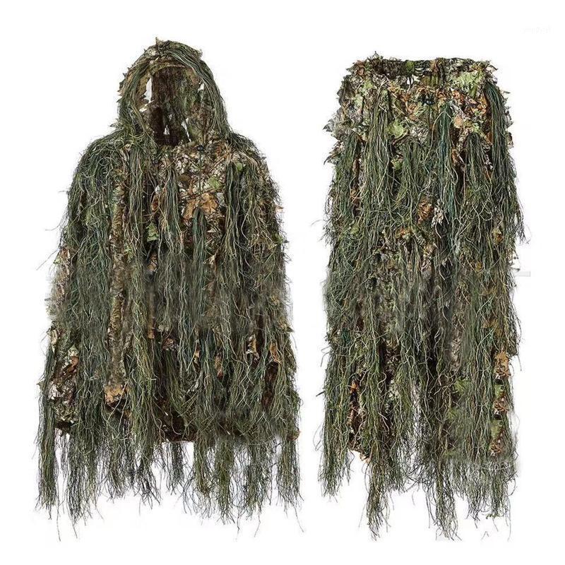 Ghillie Suit Caccia woodland 3D foglia bionica da travestimento uniforme uniforme cs crittografato camuffamento abiti set esercito tattico new1