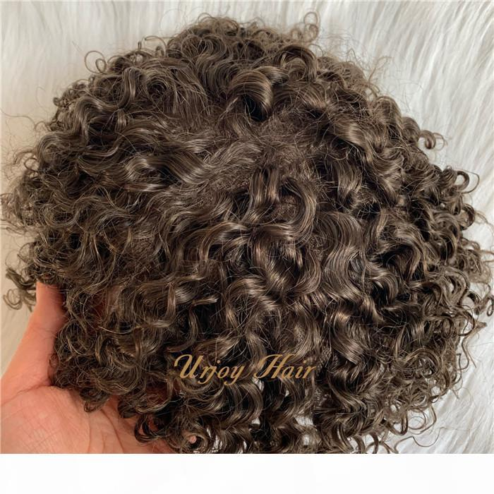 Afro curl mens toupee PU with lace base 6*8 indian hair Free style Natural hairline invisible custom toupee for black men