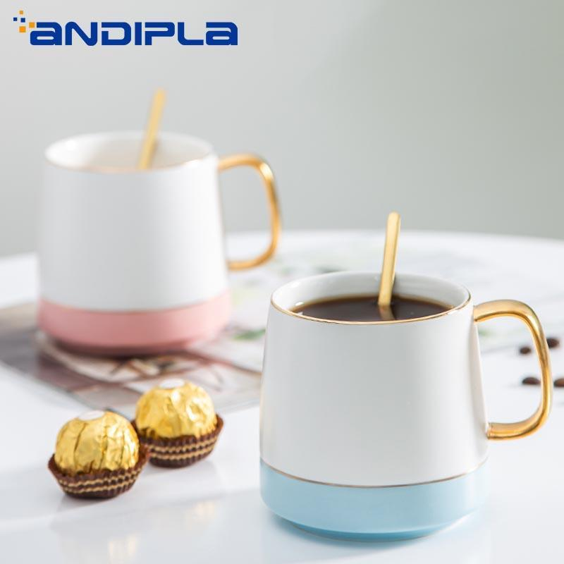 400ml tasse créative céramique porcelaine tasse à café avec cuillère boissonnerie petit déjeuner lait gruau de tasse d'anniversaire cadeau cadeau bureaux d'eau