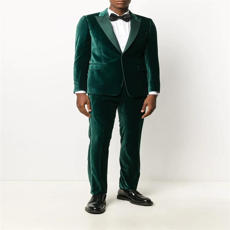 Две чашки бархатные мужские костюмы для лучшего человека Royal Custom Made Candome Speard Wedding Suits One Button Forformate Business Capty + брюки