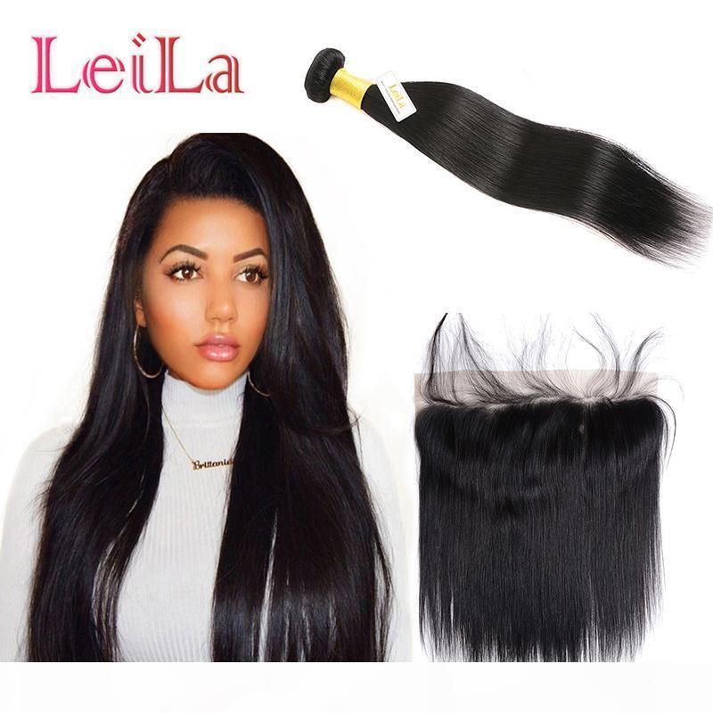 Бразильские девственницы человеческие волосы One Bundle с 13 x 4 кружева фронтальные прямые волосы наращивания волос 2 шт. Лот пучок с предварительно сорванным кружевом фронтальным