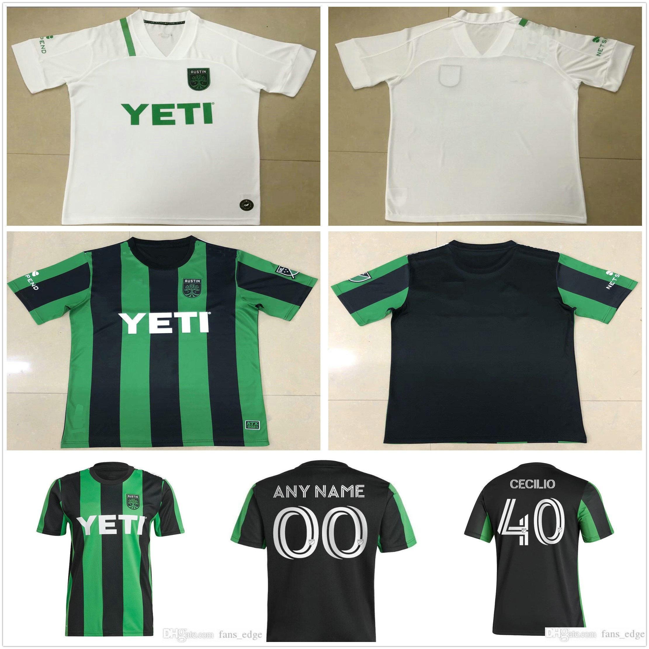 2020 2021 Austin FC Soccer Jerseys Novo Inaugural MLS 21 22 Home Black Away Branco Dario Conca Kleber Xavier Baez Personalizar camisas de futebol