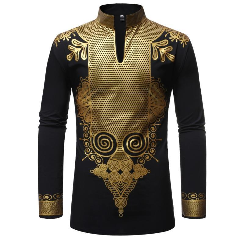 Camisa Masculina para Tradicional Vestido Africano Rich Bazin Dashiki Manga Longa Mandarim Collar Africano Camisa Homens Adult Blouse Roupas