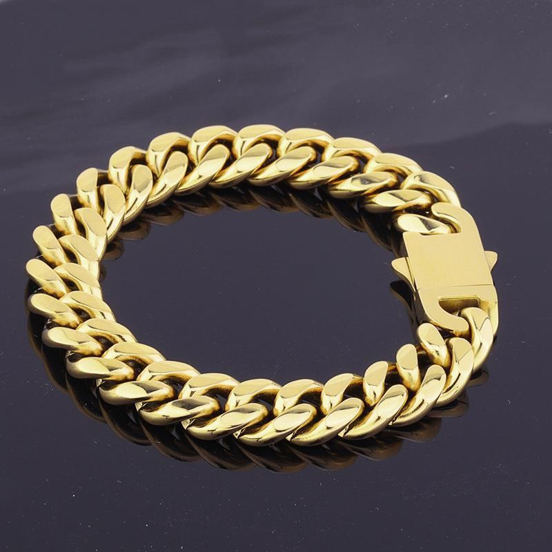Charm Bracelets 14mm Stainless Steel Silver/Gold Cuban Curb Chain Link Bracelet High Polished Hip-Hop Jewelry For Young People