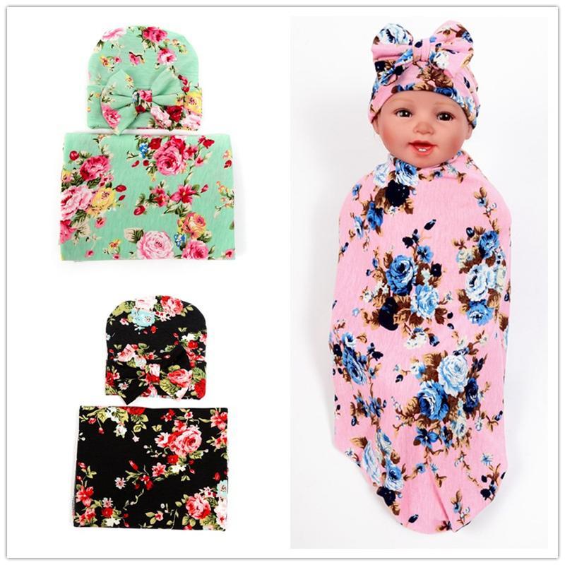 الوليد الطفل البطانيات swaddling بطانية قبعة مجموعة الرضع زهرة الأزهار قماط لينة القطن النوم كيس التفاف القماش مع القوس قبعة القبعات BHB15