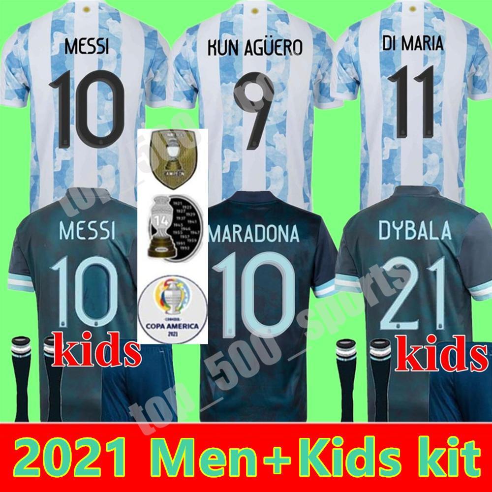 2021 아르헨티나 Maradona Messi 축구 유니폼 21 22 홈 멀리 Kun Agüero 디 Maria Lo Celso Martinez Correa 축구 유니폼 셔츠 남자 아이들 소년 청소년 세트 유니폼