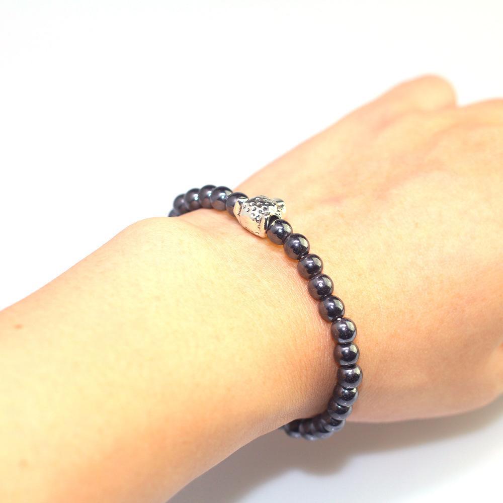 Moda leopar kafa erkek boncuklu bilezik 6mm siyah safra taşı el dize basit tarzı