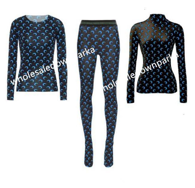 T 2021SS Блудная рукава Marine Serre Leggings Нижняя Рубашка Женщины Высокое Качество Перекрытие Часовой Луны Плотные Топ Tees Marinxhhhh9i