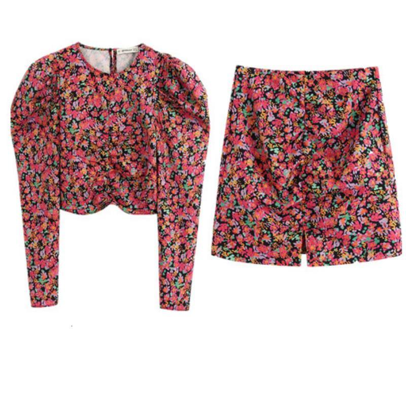 Kadın bahar takım elbise puf moda kol kısa üst bel + mini etek 2 topluluk Iyby