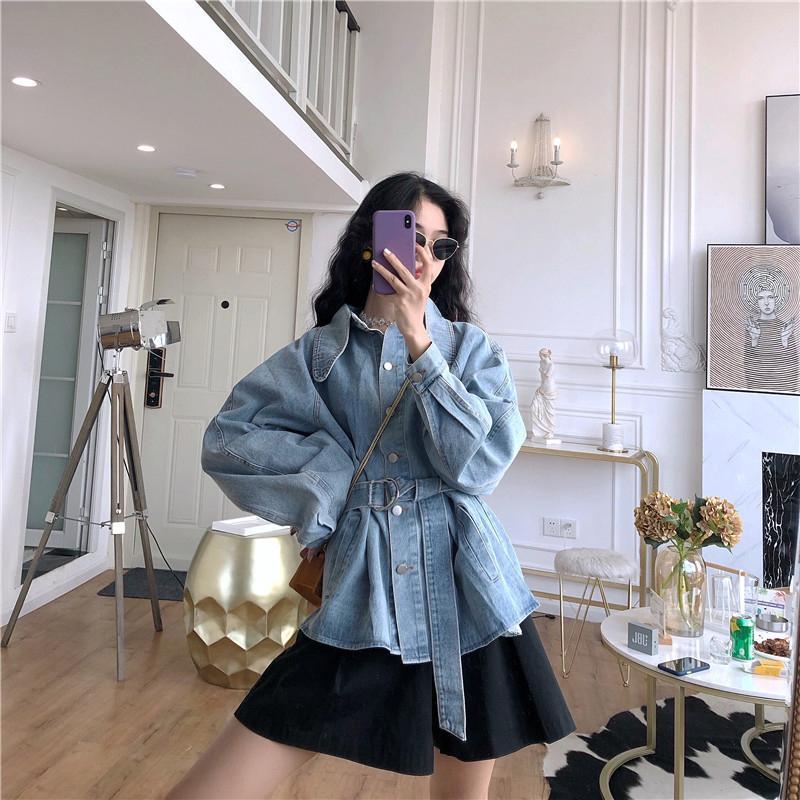 Women's Jackets 2021 Denim Jacket With Belt Spring Autumn Jeans Female Elegant Fashion Casual Oversize Outerwear Coat