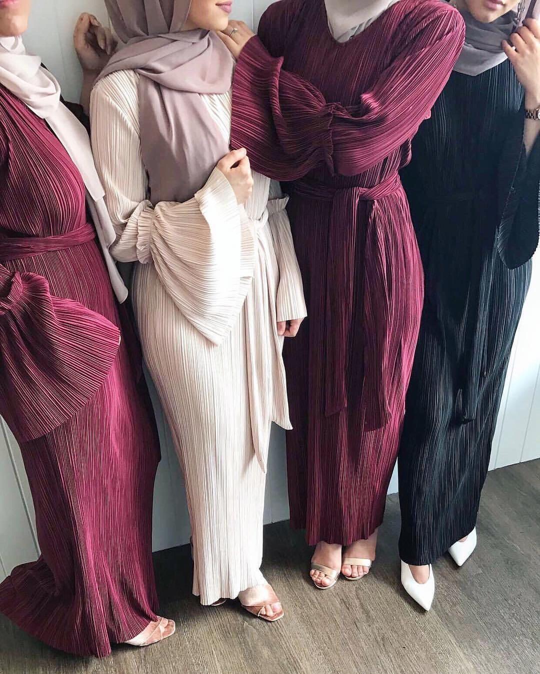 Kadınlar Pileli Müslüman Robe Ince Kemer Abaya Bell Kol Maxi Kaftan Kıyafeti Moda Kokteyl Parti Elbise Arap İslam Clo 4J73
