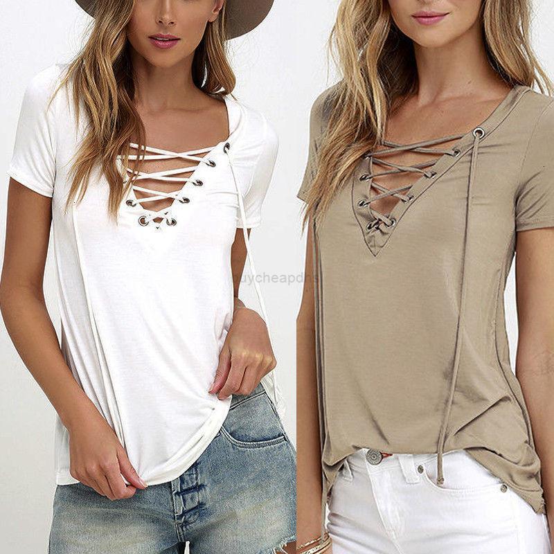 T-shirt à col V à manches décontractés T-shirt à col en V femmes courtes courtes T-shirt Femmes à lacets Top Bandeau Plus Taille Nouveau
