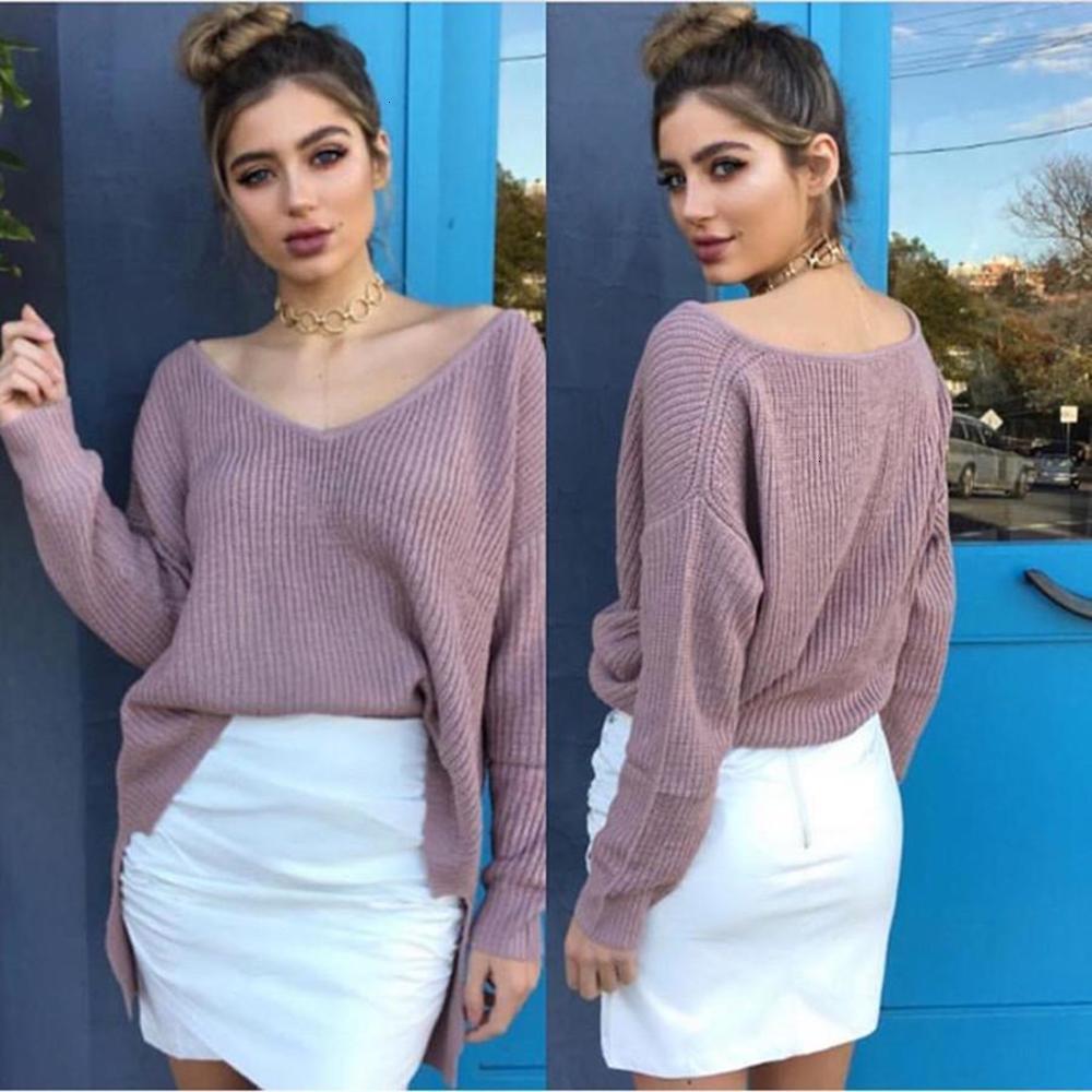Осень и зима 2021 женский твердый цвет с длинным рукавом свитер футболки Top 0382