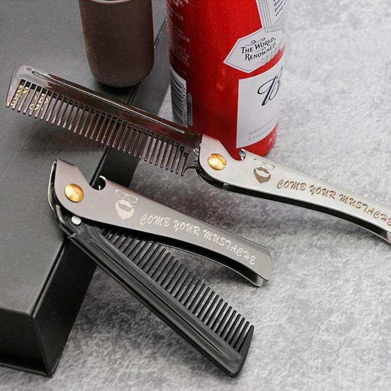 Brosses à cheveux en acier pliant peignes pour hommes Huile Head Beard Portable Produit Statique pliable Anti Effect Styling Cyling peigne COM Q4M1
