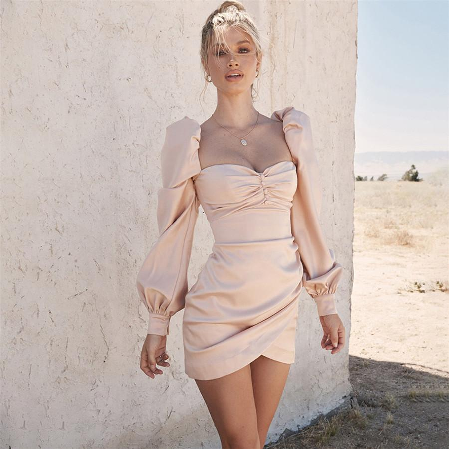 Işık Uzun Kollu Pembe Elbise Kadınlar Slash Boyun Seksi Draped Güz 2021 Vestidos Zarif Ince Lady Elbiseler Bezi DK7D