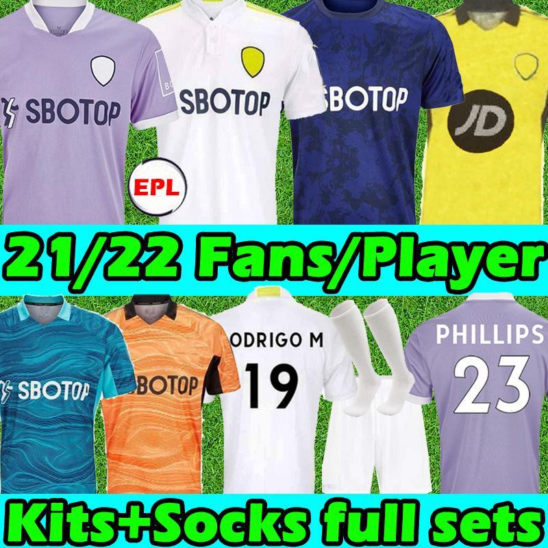 21/22 Leeds Soccer Trackys United Fants Player Версия 2021 2022 T Roberts Harrison Harnandez Коста Бамфорд Алиосский Кларке Мужчины Детские наборы Носки Full Sets