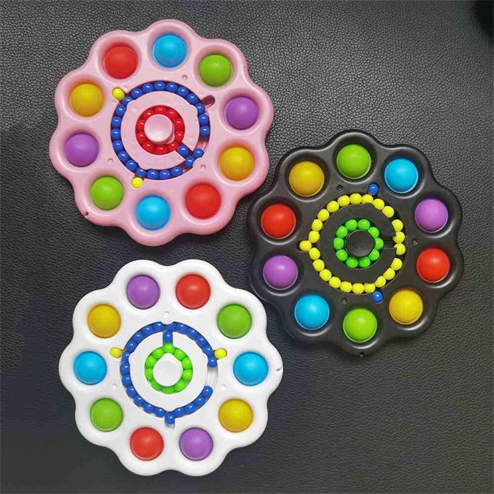 Arco iris Push Pop Spinners dedo Dedo Diversión Juguetes Forma de flores Fidget Spinners Bubble Poppers Board Spinner Juguete Para Niños Adulto Alivio Alivio Juguete G643UC0