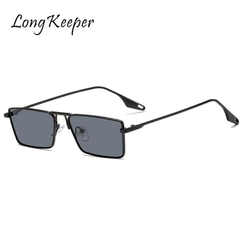 LongKeeper Retro Square Sunglasses Women Men Pilot Driving Glasses Metal Eyewear Frame Vintage Sunglasses Punk Lentes De Sol UV