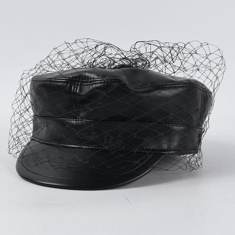 2021 Yeni Tasarım Arty Ile Peçe Kadın Newsboy Kap Kadın Sonbahar Kış Yumuşak Deri PU Askeri Moda Bayanlar Sekizgen Şapka RLMB