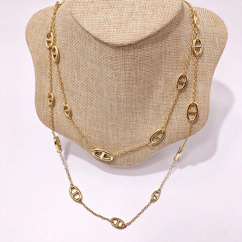 h Ожерелье дизайнер ювелирные изделия позолоченные медные изделия мода свиньи нос ожерелья серебряный цвет длинный свитер цепи аксессуары