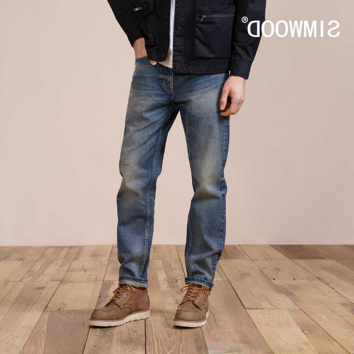 Simwood 2021 Bahar Yeni Düzenli Düz Kot Erkekler 100% Katoen Vintage Rahat Denim Broek Artı Boyutu Marka Giyim
