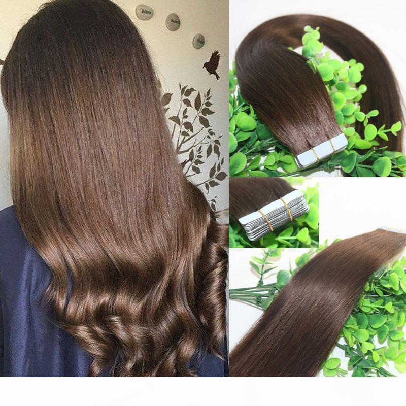 Лента в наращиваниях человеческих волос Средний коричневый # 4 40 шт. 100ГрМАМ REMY ленты наращивания волос Усиление кожи толсто