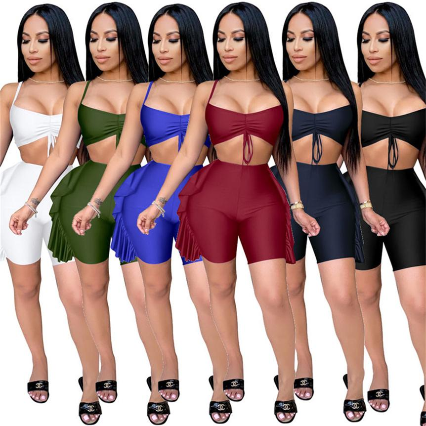 Plus size Women solid color Outfits casual Tracksuit sexy 2 piece sets sleeveless crop top+mini shorts summer clothes jogger suit 4562