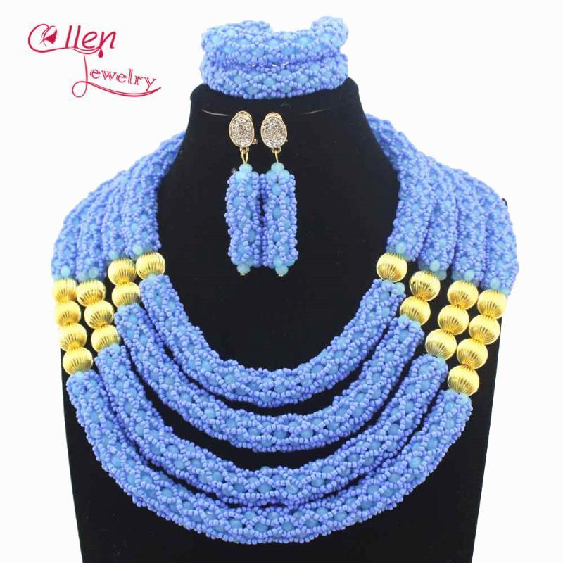 Серьги Ожерелье Небо Голубой большой Костюм Дубай Ювелирные Изделия Набор Нигерийских Свадебных Африканских Бусин для Женщин E1074