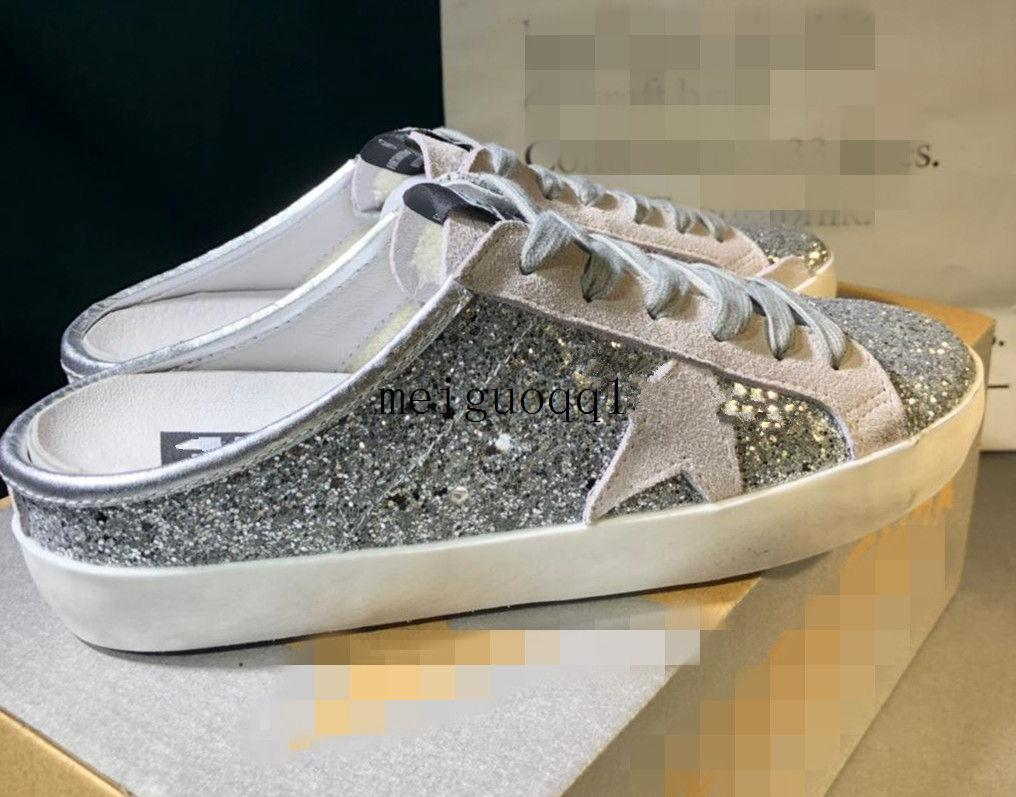 2021 Pailletten G33ms590 Halbhausschuhe Klassiker White Distressed Dirty Shoe Designer Super Star Herren und Damen Freizeitschuhe # Plus Frame