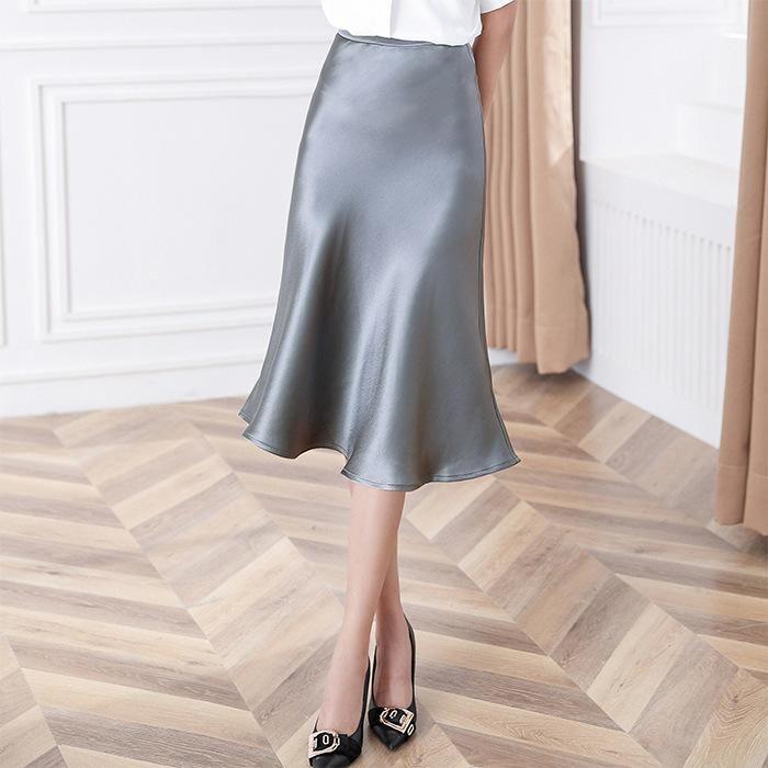 Röcke Boutique Frauen Kleidung Büro Dame Silber Bodycon Bleistift Womens 2021 Frühling Sommer Arbeitsrock 3367-1
