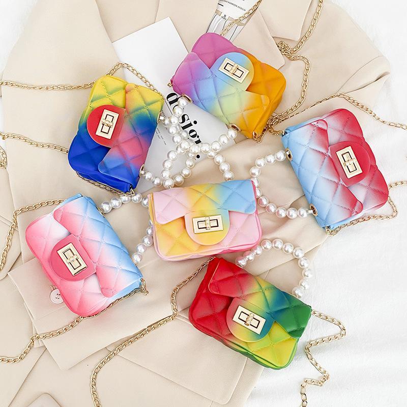 Mädchen Perle Gelee Kopfbeutel 2021 Neue Mode Kinder Rhombic Candy-farbige Messenger Bags Mädchen Kette Single-Umhängetaschen Mini-Geldbörse C6960