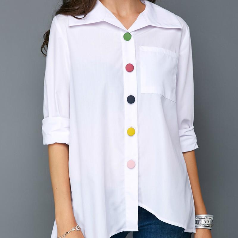 Le nuove donne camuono la camicia di abbottonatura a colori irregolare della signora colletto a turni a metà manicotto bianco solido bianco rosso blu casual top