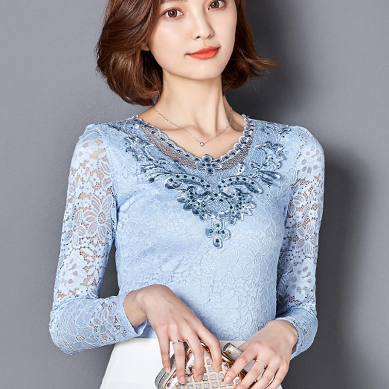 TwoxFanx New Otoño Blusa Camisas de manga larga Diamantes Lace Elegante Moda Blusa Plus Tamaño Tops Tops 918B