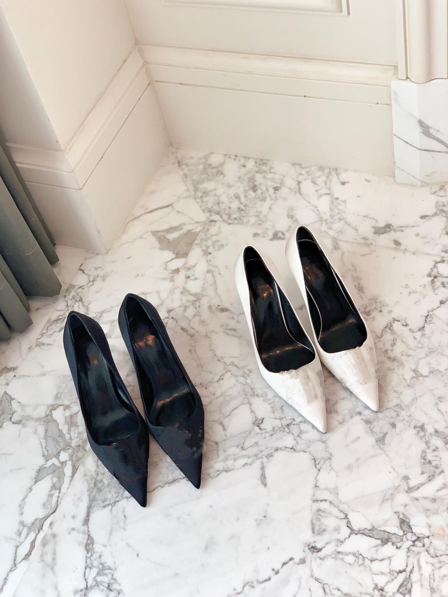 거품 러너 2021 봄과 가을 뾰족한 샌들이 높은 굽의 스틸레토스 실크 새틴 패브릭 얕은 입 단일 신발 여성 크기 35-39