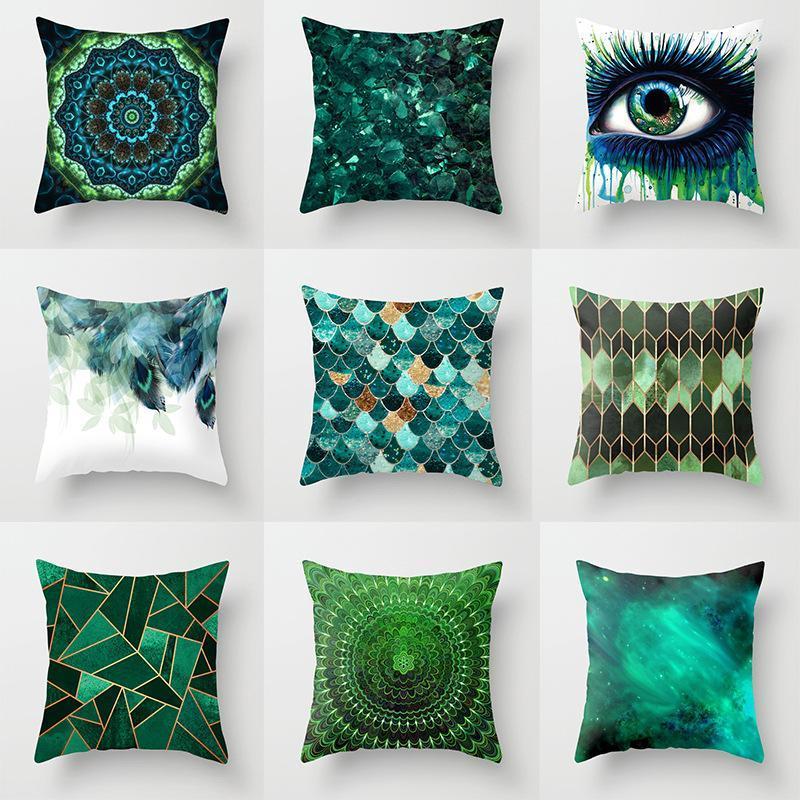 """Kissen / dekoratives Kissen 18 """"Nordic Einfache Geometrische Hülle Blau Grün Kurzer Plüsch Sofa Sitz Schlafzimmer Weiche Kissenbezug Home Dekorative Pillo"""