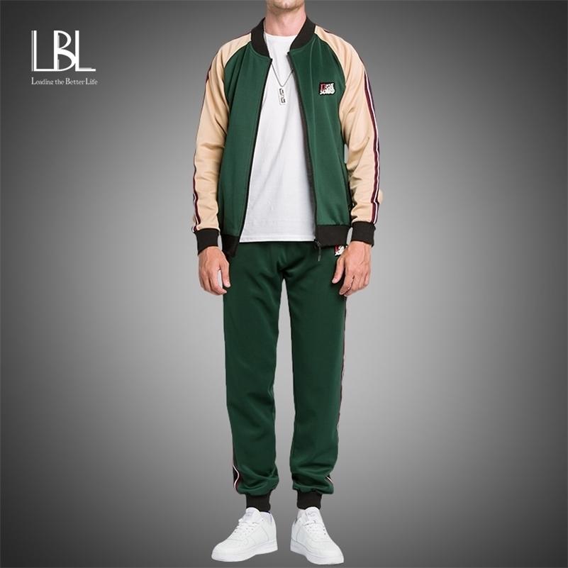 Abbigliamento da uomo LBL Set da uomo Autumn Moda Tracksuits per uomo Collo verticale Trendy Cardigan Giacche + Pantaloni Vestito patchwork 201128
