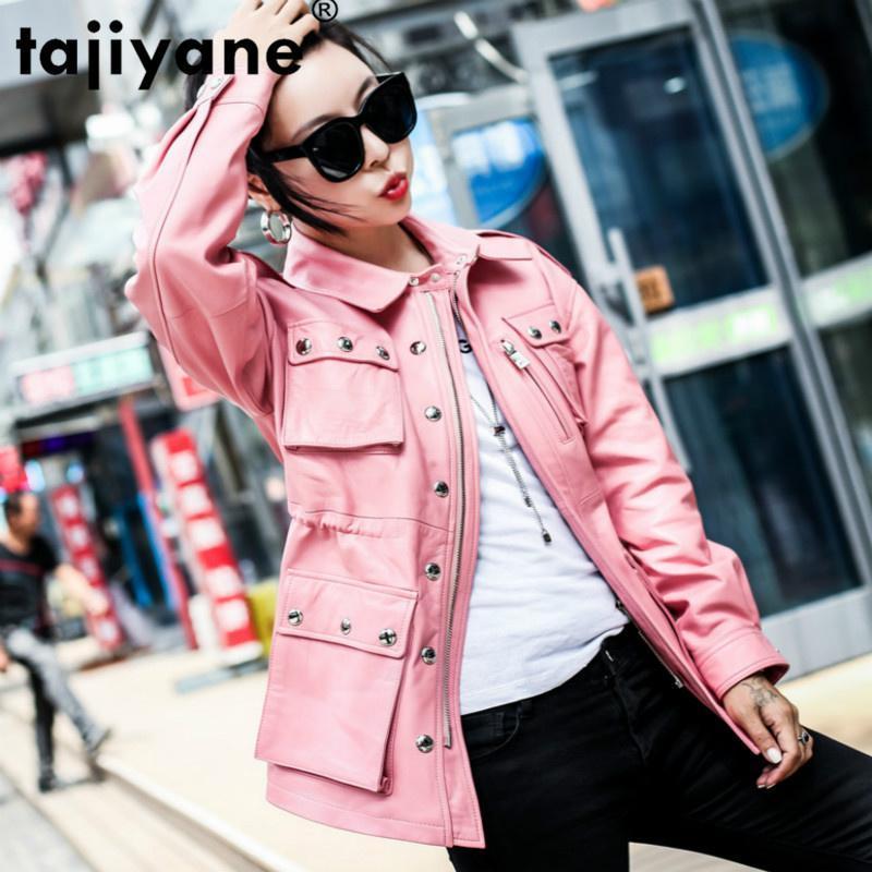 Faux en cuir Faux Veste véritable véritable veste Vêtements femme 2021 Coréen Vintage printemps automne Manteau de peau de mouton Outwear Tops Chaqueta Mujer Zt3124