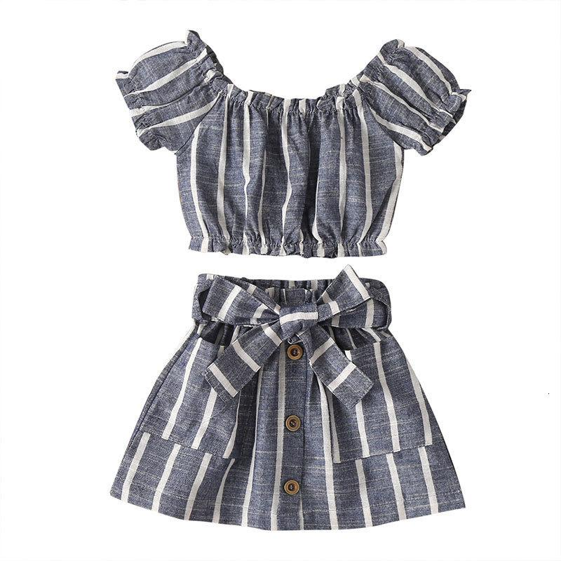 2021 Новая мода дети девочек одежда набор хлопчатобумажных полосатых с коротким рукавом O-шеи верх + лук юбка летняя детская одежда 1-5 лет NT5U