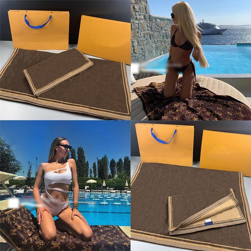 Стильное письмо напечатано для ванной полотенце мягкие толстые высокое качество полотенца 80 * 160см пара дизайнерская жаккардовая ума для спортивных плавательных пляжа подарок 2 частей набор
