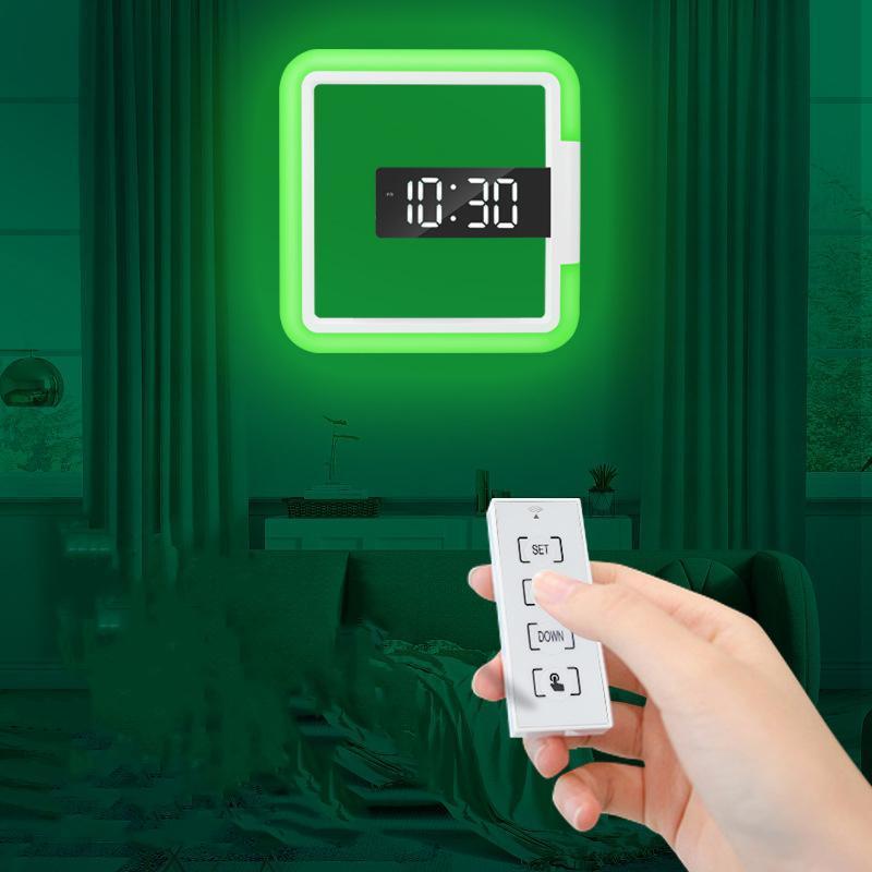 Relógios de parede LED Espelho Hollow Square Relógio Multi-funcional Início Criativo Digital Alarm Design Nightlight Decor
