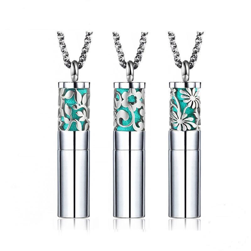 Anhänger Halsketten Frauen Ätherisches Öl Parfüm Edelstahl Halskette äquestation Urne Weihnachtsschmuck Geschenk