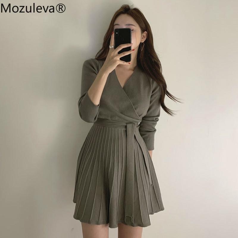 Mozuleva Şık V Yaka Lace Up Örme Elbise Kadın Tam Kollu Ofis Bayanlar Bir Çizgi Kazak Elbise Kadın Örgü Vestidos 210303