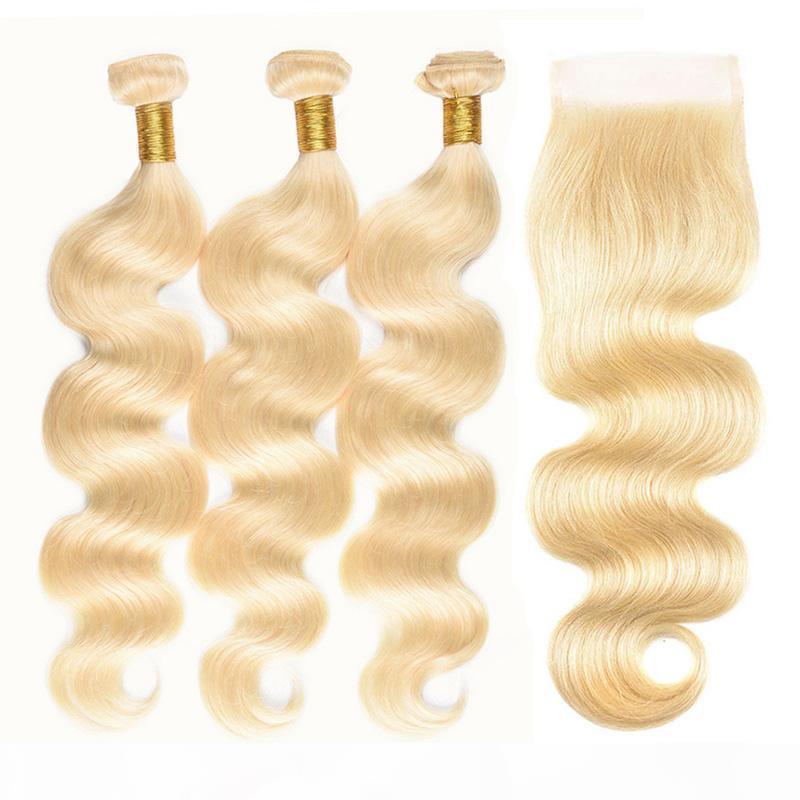 Cutículas brasileñas alineadas 613 paquetes de pelo rubio con cierre de encaje artículos baratos ola de cuerpo cabello humano 3 tramas con cierre superior de encaje 4x4