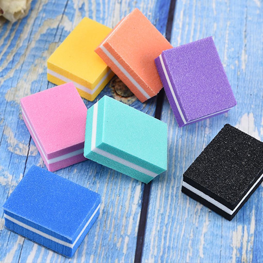 10 adet Mini Sünger Tırnak Dosya Çift Yan Tırnak Tampon Blok Taşınabilir Parlatma Manikür Aracı