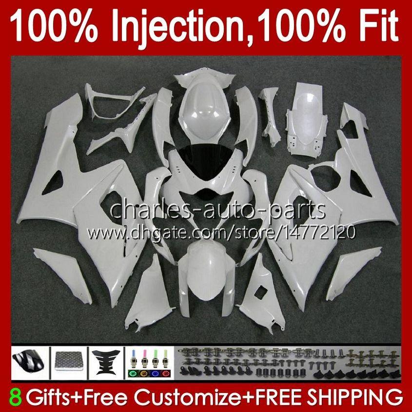 هيئة + اللؤلؤ الأبيض الساخن القلنسوة لسوزوكي GSXR-1000 GSXR 1000 05 06 هيكل السيارة 11HC.26 GSX-R1000 GSXR1000 05 06 K5 GSX R1000 2005 2006 Fairing kit