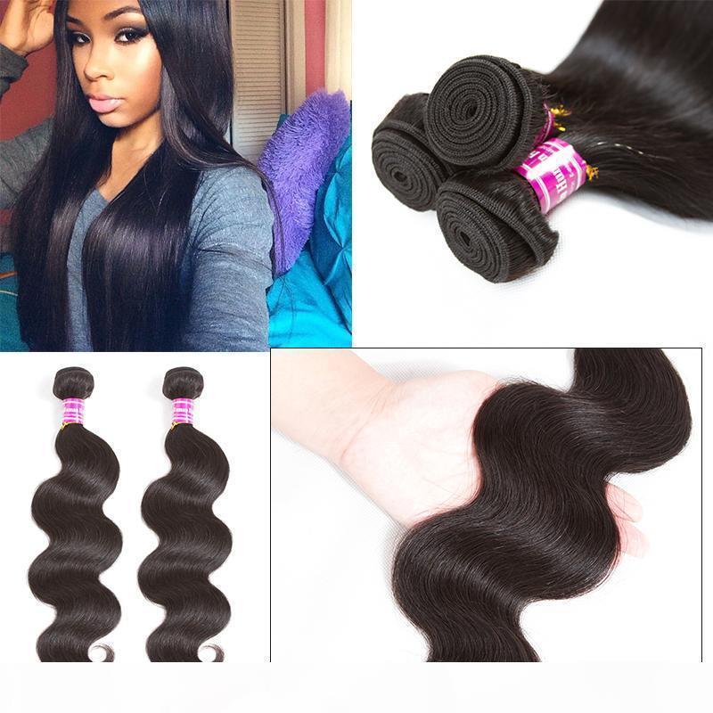 Cheap человеческие пакеты волос прямые бразильские девственные волосы плетены необработанные волна волос наращивание волос Wefts Bulk продать Продвижение бесплатная доставка