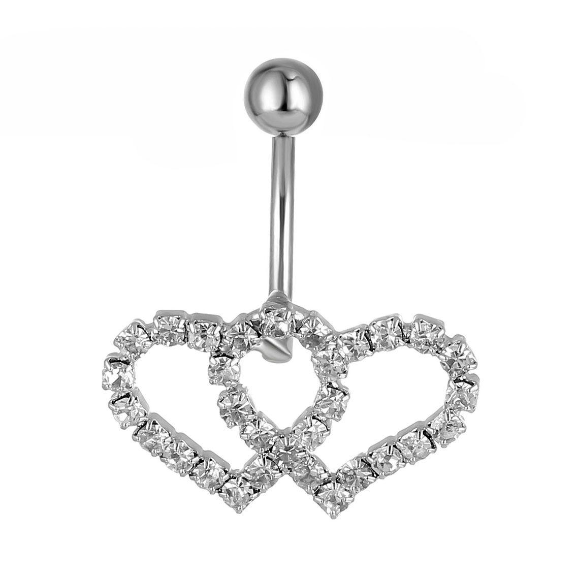 0335 (2 färger) mage knapp ringar kropp piercing smycken dubbel hjärta klart